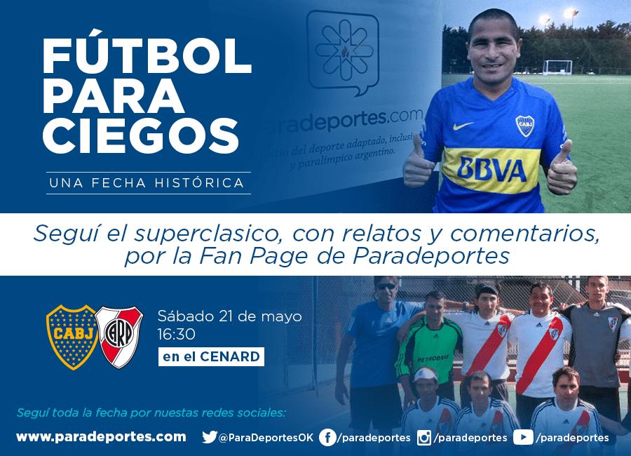 Futbol para ciegos: El primer Boca-River, seguilo en vivo por streaming en la Fan Page de Paradeportes